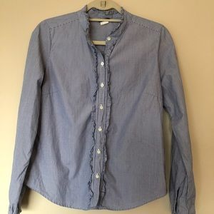 [3/$25] J Crew Blue Pin Stripe Button Down Ruffle